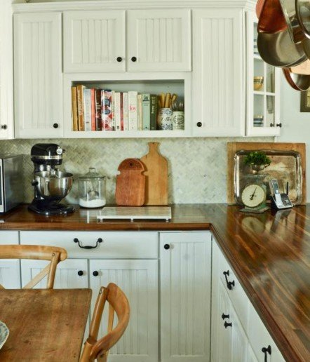 Kitchen with DIY butcher block countertops
